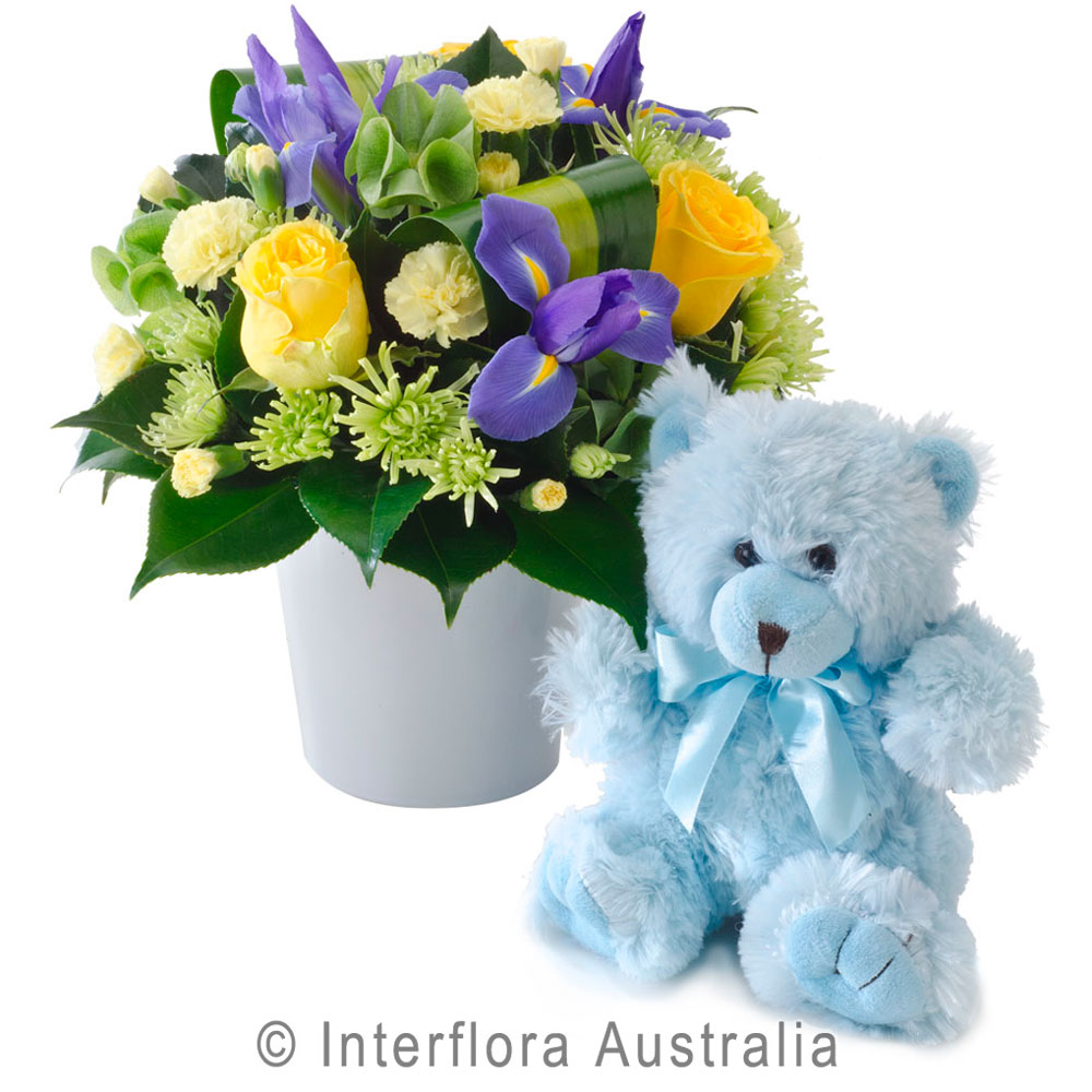 Yellow And Purple Flowers In Ceramic Container And Blue Bear
