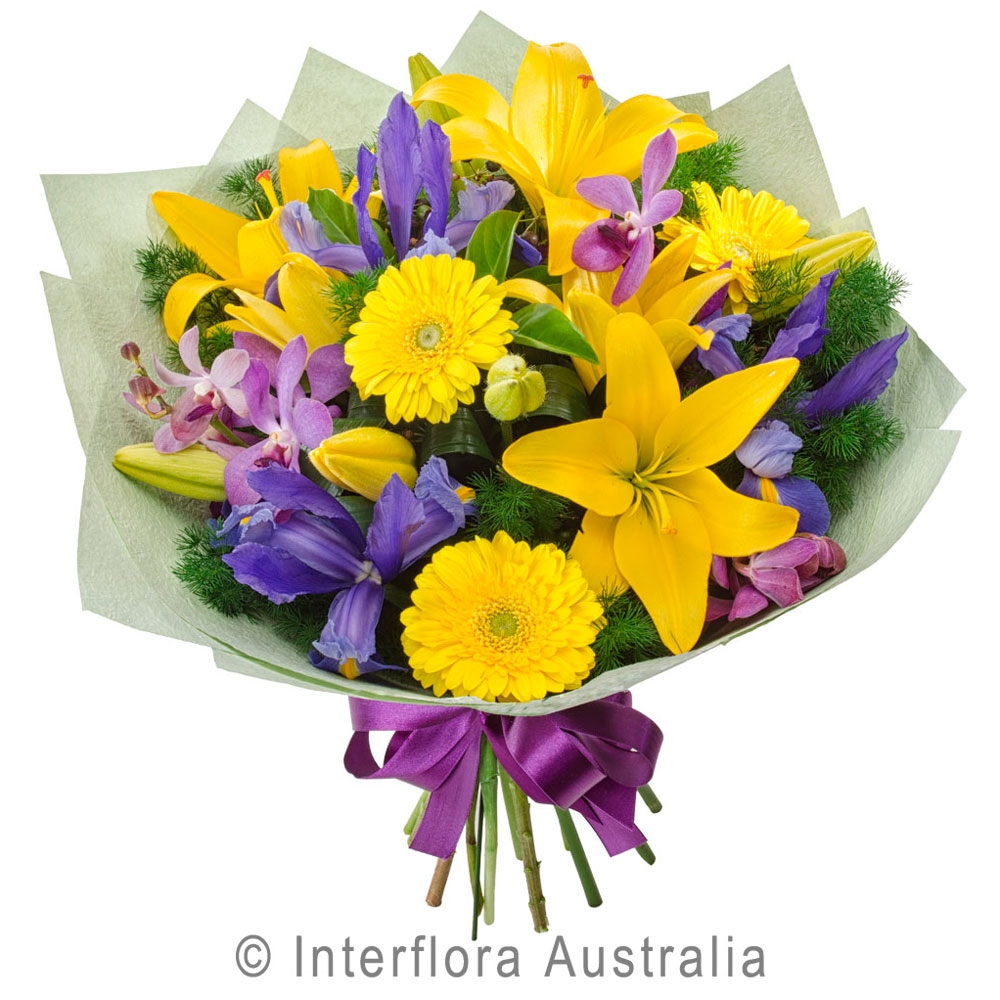 Bouquet Of Assorted Flowers In Yellow And Purple Myrtleford